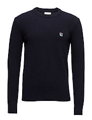 Regular fit sweater with embroidered logo - DARK NAVY
