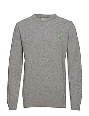 CREWNECK IN WASHED LAMBSWOOL WITH TEDDY LOGO. - GREY