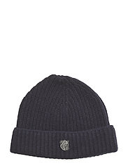 BEANIE IN LAMBSWOOL WITH TEDDY LOGO. - NAVY