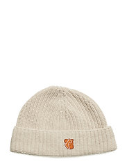 BEANIE IN LAMBSWOOL WITH TEDDY LOGO. - OATMEAL