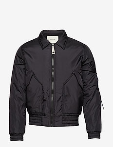 Light bomber with reflective elastic cord detail at the slee - DARK NAVY