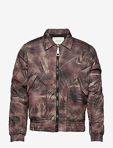 Light bomber with reflective elastic cord detail at the slee - CRUNCHED CHECK PRINT
