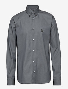 Regular shirt with embroidered logo - GREY CHAMBRAY