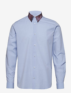 Regular fit shirt with crunched check printed collar - LIGHT BLUE
