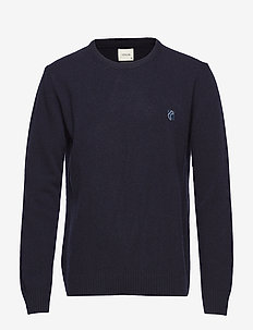 ROLL NECK IN WASHED LAMBSWOOL WITH TEDDY LOGO. - NAVY