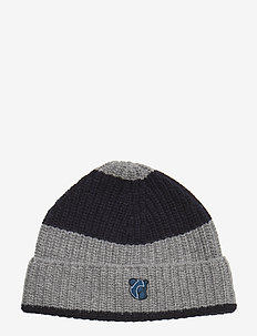 Beanie with Teddy logo - DARK NAVY/ GREY STRIPES