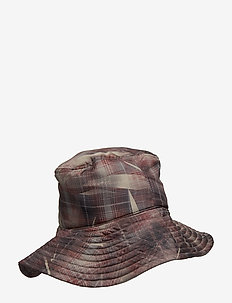 Bucket hat with reflective elastic cord detail and Teddy log - CRUNCHED CHECK PRINT
