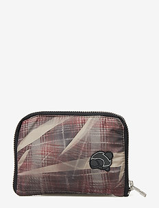 Wallter with reflective elastic cord detail and Teddy logo - CRUNCHED CHECK PRINT