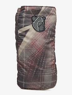 Pouch with reflective elastic cord detaill and Teddy logo - CRUNCHED CHECK PRINT