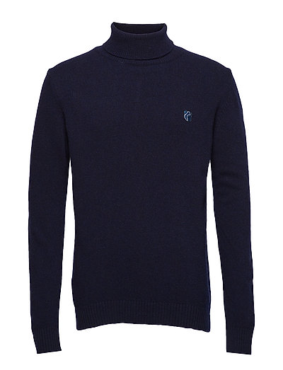 CREWNECK IN WASHED LAMBSWOOL WITH TEDDY LOGO. - NAVY