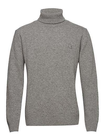 ROLL NECK IN WASHED LAMBSWOOL WITH TEDDY LOGO. - GREY