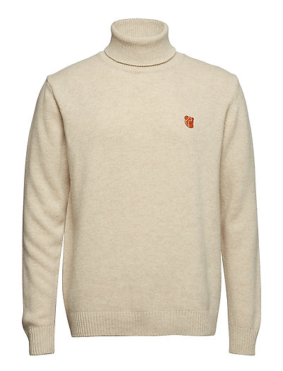 ROLL NECK IN WASHED LAMBSWOOL WITH TEDDY LOGO. - OATMEAL