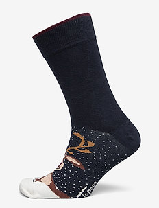 SOCK CHRISTMAS TIME - regular socks - navy blue snow