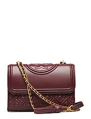 FLEMING SMALL CONVERTIBLE SHOULDER BAG - CLARET