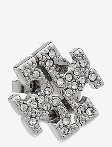 KIRA PAVE STUD EARRING - Ørestikker - tory silver / crystal