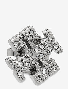 KIRA PAVE STUD EARRING - nappikorvakorut - tory silver / crystal