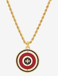 MILGRAIN LOGO SPINNER NECKLACE - statement-kaulakorut - rolled brass / royal navy / redstone