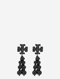 ROXANNE MATTE TASSEL EARRING - hängande örhängen - matte black / black