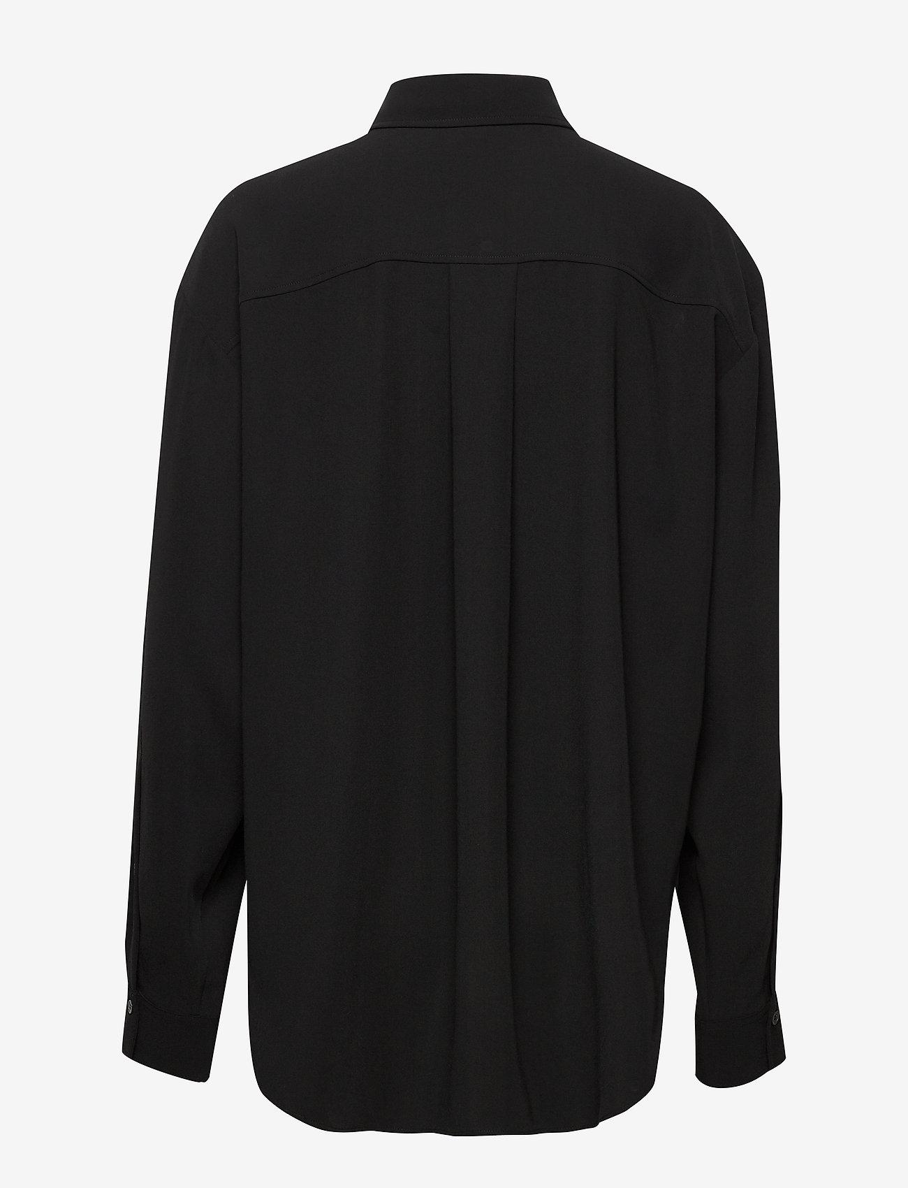 Totême - LAGO - long-sleeved shirts - black crepe 200