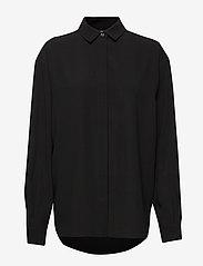 Totême - LAGO - long-sleeved shirts - black crepe 200 - 0