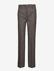 TROIA - spodnie proste - brown melange