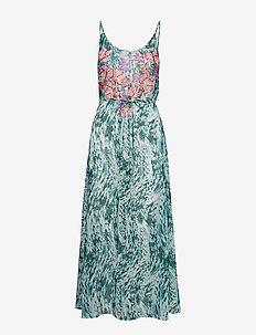 Floral Cascades Dress - GREEN - DARK COMBINATION