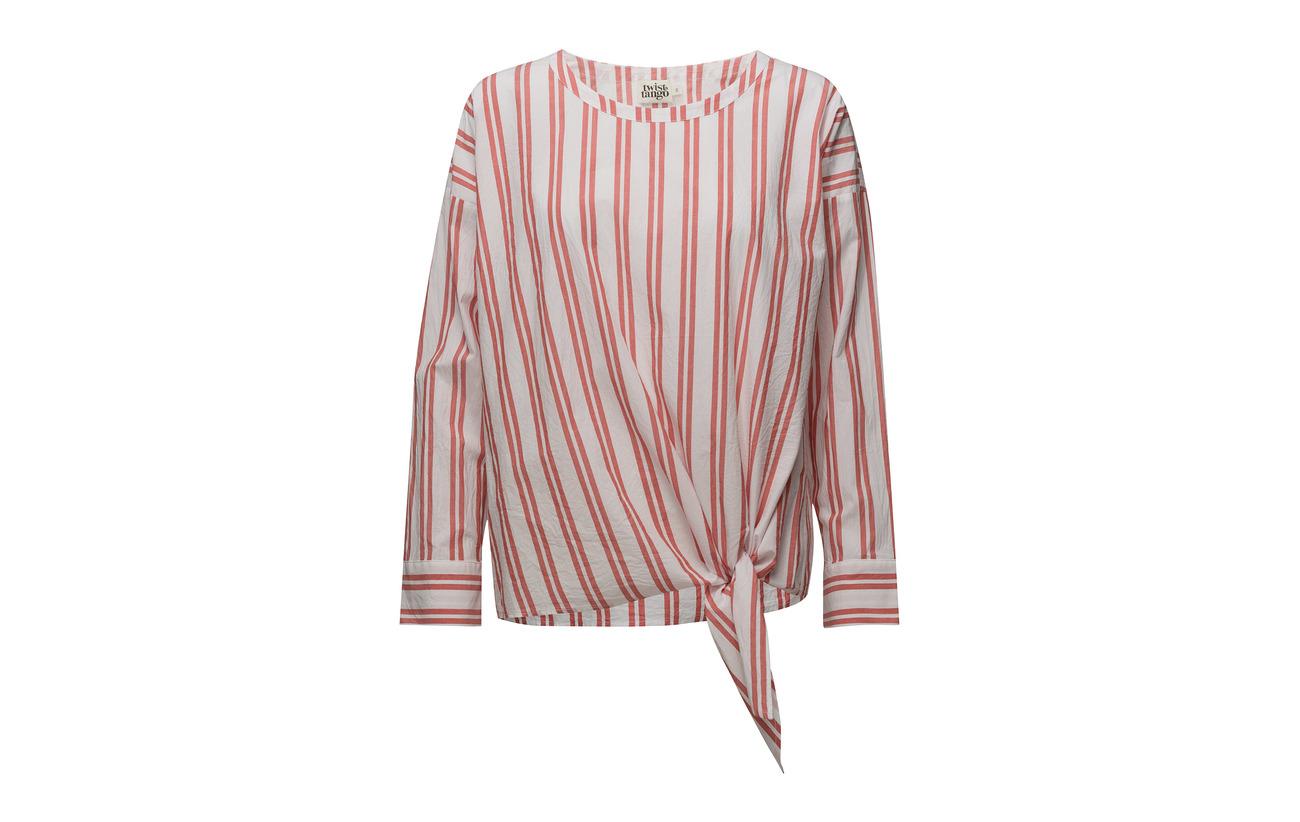 Veronica 100 Coton Blouse amp; Twist Stripe Navy Tango qYHWCEA