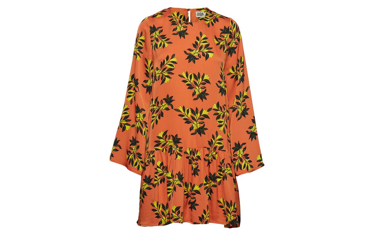 Dress Flower Tilly Twist Tango 100 amp; Orange Viscose qaPtwP