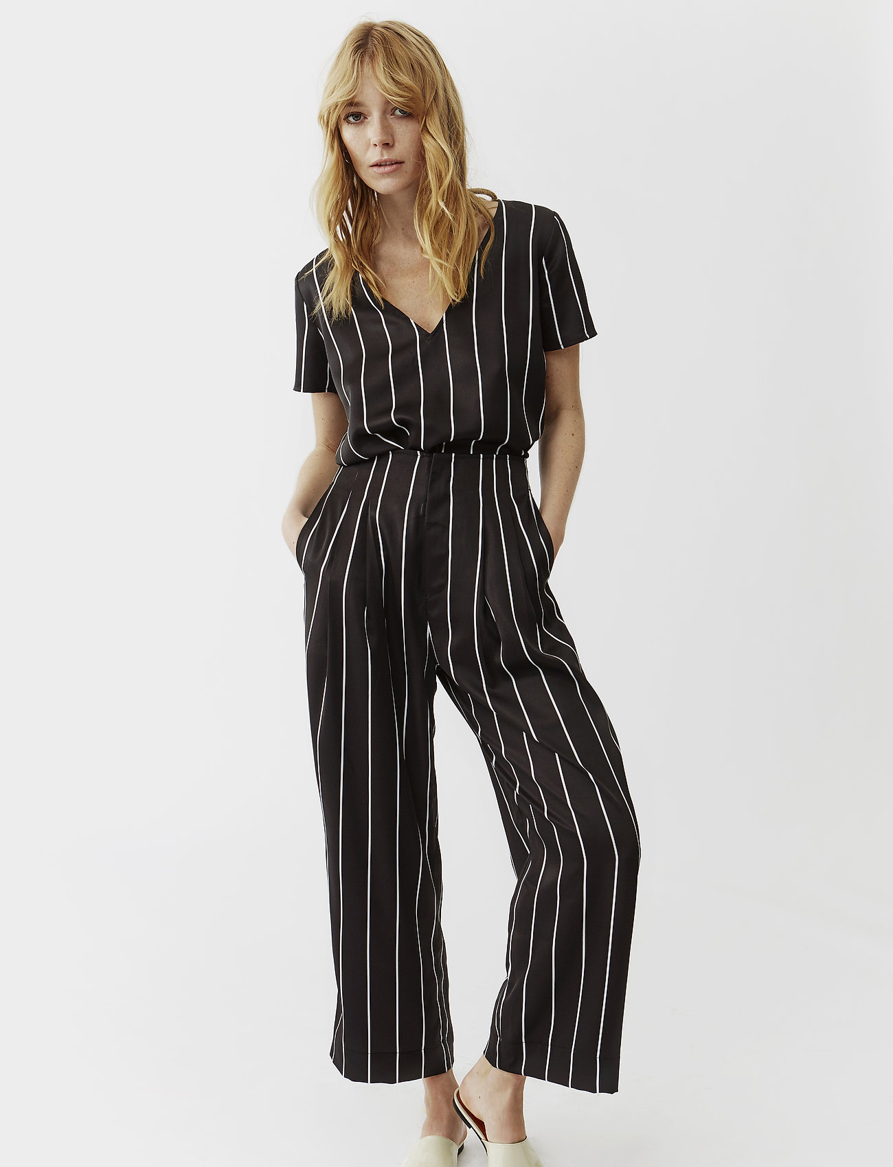 Twist & Tango - Brenda Trousers - wide leg trousers - black stripe - 0