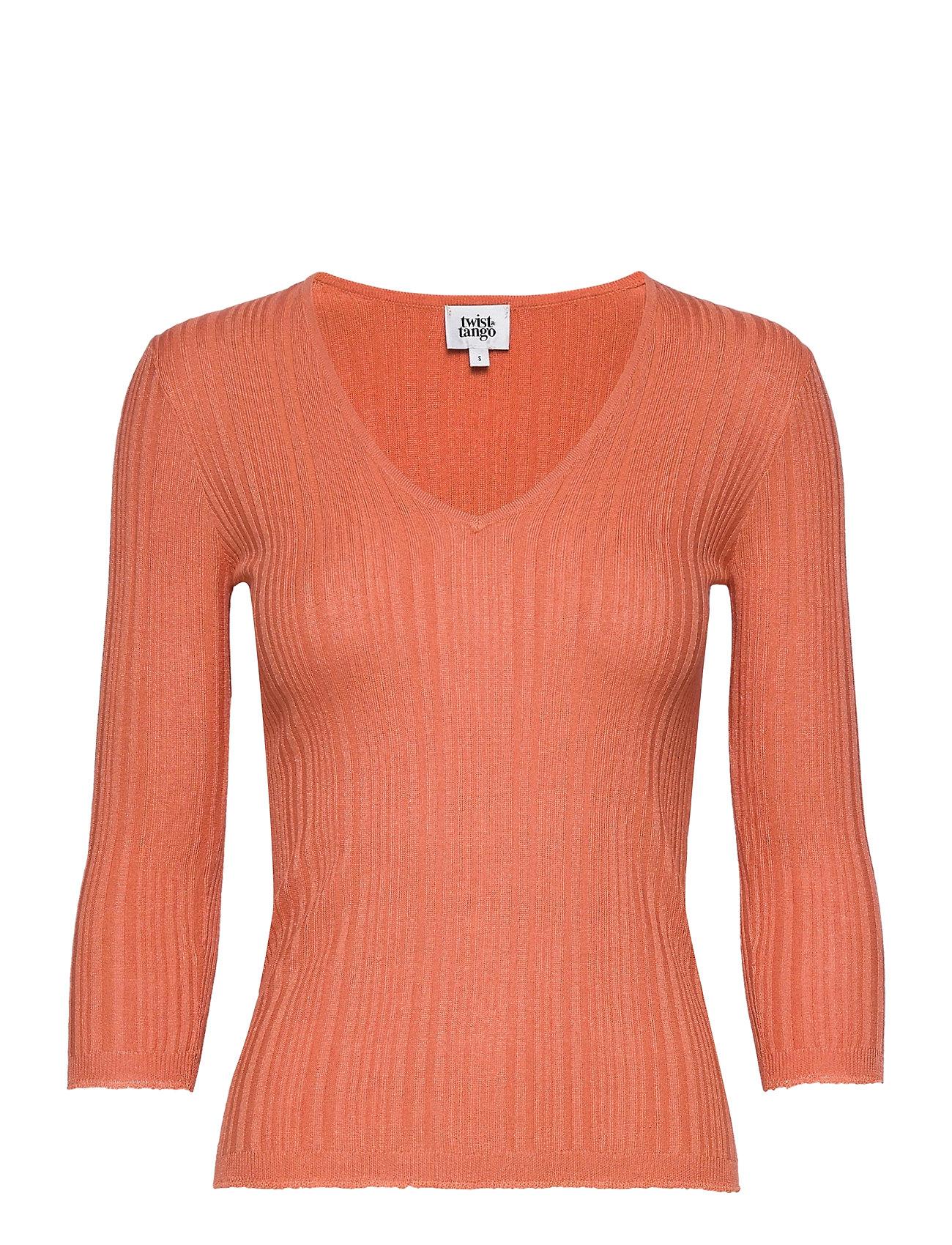 Image of Sabina Knitted Tee T-Shirts & Tops Knitted T-Skjorte/tops Orange Twist & Tango (3440209107)
