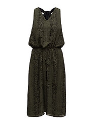 Stacy Long Dress - GREEN SNAKE