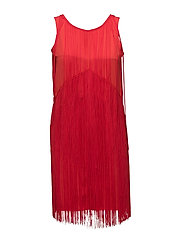 Clair Fringe Dress - RASPBERRY RED