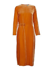 Vera Velvet Dress - ORANGE