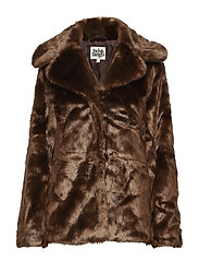 Grace Faux Fur Jacket - BROWN
