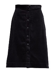 Pia Cord Skirt - BLACK