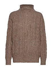 Marianna Cable Sweater - BROWN MéLANGE