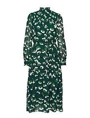 Aline Long Dress - GREEN FLOWER