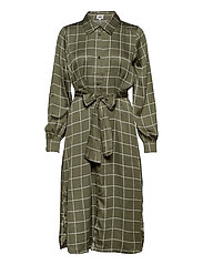 Lisa Long Shirt Dress - GREYISH GREEN