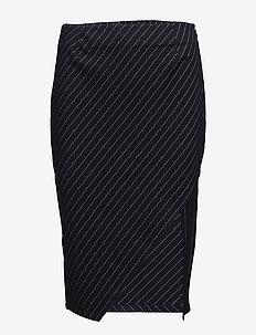 Whitney Skirt - midi skirts - navy pin stripe