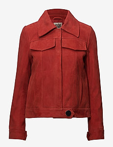 Veronica Suede Jacket - leather jackets - raspberry red