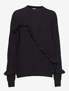 Sonja Frill Sweater - BLACK