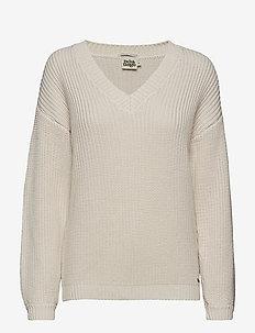 Semra V-neck Sweater - LIGHT BEIGE