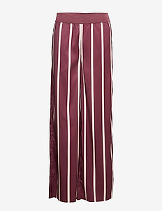 Tatiana Trousers Burgundy - pantalons larges - burgundy stripe