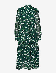 Aline Long Dress - midiklänningar - green flower
