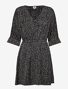 Mila Dress - robes courtes - black mini flower