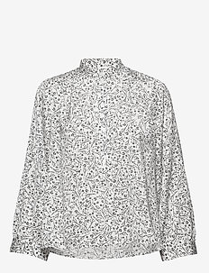 Mila Blouse - langærmede bluser - white mini flower