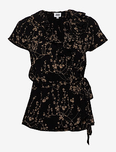 Henny Blouse - lyhythihaiset puserot - black flower