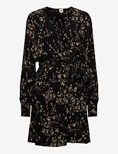 Kalea Dress - wrap dresses - black flower