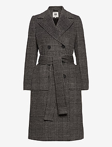 Loretta Coat - wool coats - graphic check
