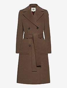 Loretta Coat - wool coats - oak melange
